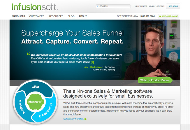 infusion soft homepage conversions